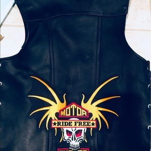 Other - Heavy Custom Made Black Leather Motorcycle Vest